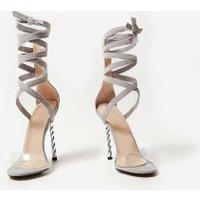 06959d3f2b3 Dana Perspex Lace Up Corkscrew Heel In Grey Faux Suede, Grey ...