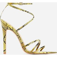 85cb90aea119 Kaia Pointed Barely There Heel In Yellow Snake Print Faux Leather, Yellow